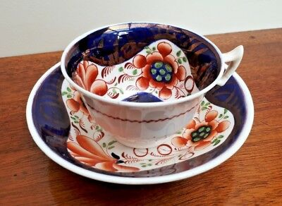 Mid 19thc Victorian Gaudy Welsh/Dutch London Shape Cup & Saucer