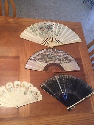 Collection Of Vintage Antique Hand Held Fans
