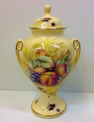 "Aynsley ""Orchard Gold"" Pattern Lidded Vase/Urn."