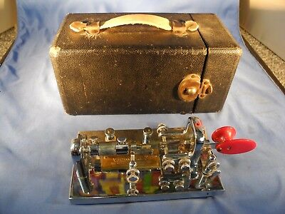 Vibroplex Chrome Deluxe Bug Paddle Key Vintage in Case CW QRP BOX