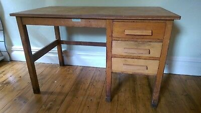 Old Wood Office Desk with 3 Drawers - G.HENSHALL-DAVIES