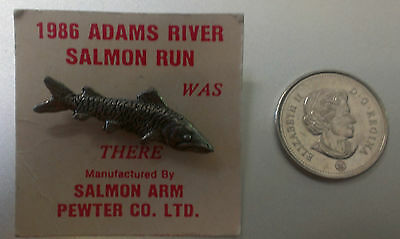 """New"" 1986 Adams River Salmon Run Pewter Salmon Lapel Pin Salmon Arm Pewter Co."