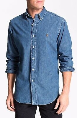 Men's Ralph Lauren Long Sleeve Medium Wash Chambray Denim Slim Fit Shirt Bnwt