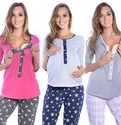 2 in1 Maternity & nursing 100% cotton 2-peace Pyjama Set size breastfeeding 4054