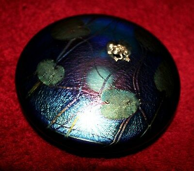 Vintage Art Glass Lilypad Disc with Frog Signed by John Ditchfield - Glasform