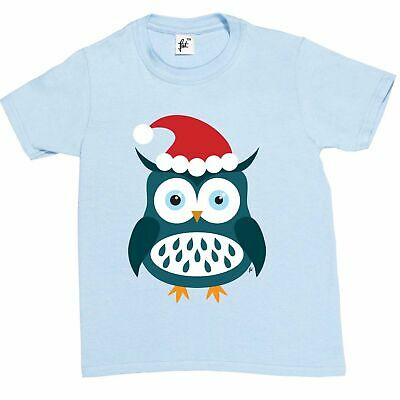 Girls T-Shirt Christmas Owl Wearing Santa Hat Sat In Tree Snowing Kids Boys