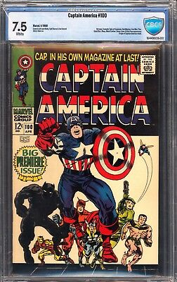 Captain America #100 (Apr 1968, Marvel) CBCS 7.5 White Pages ( not CGC )