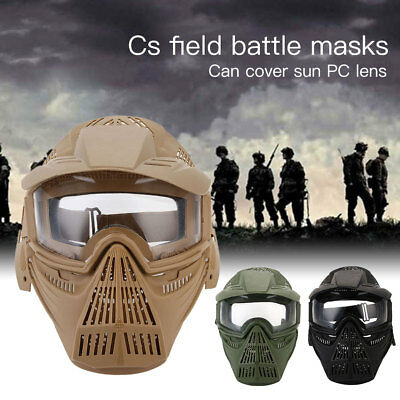 Full Face Mask Hunting CS War Game Field Tactical Airsoft Paintball PC Lens