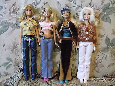 4 Barbie dolls are re-styled with clothing shoes for Spring Summer Fall Winter