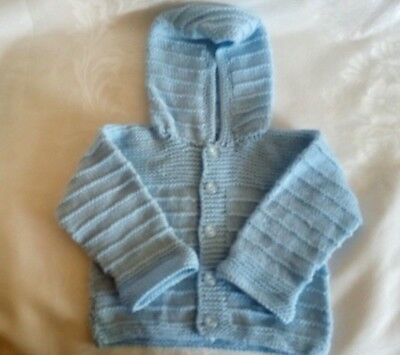 Hand Knitted Baby Boy Blue Cardigan Hoodie Sweater Size 9-12M NEW