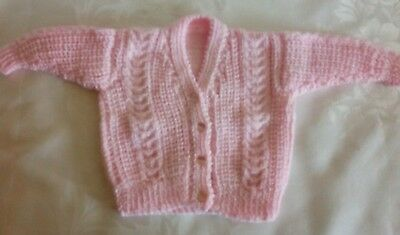 Hand Knitted Baby's Girl Pink Cable Knit Design Cardigan Sweater 3-6M NEW