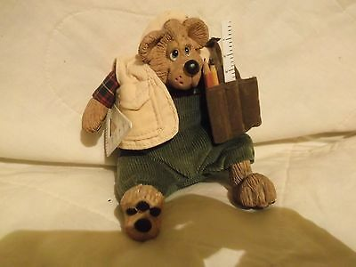 "Russ Berrie 5"" sitting Kelly Critter Contractor Bear - polyresin & plush"