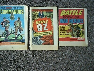 3 x Battle Picture Weekly -Battle A-Z, Book of War Heroes, File on the Commandos