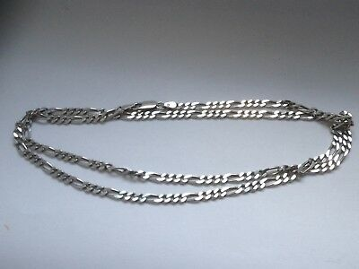 "Vintage Sterling Silver Fully Hallmarked 24"" Figaro Chain."