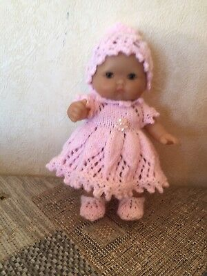 "Hand Knit Dolls Clothes. 5"" Berenguer Itsy Bitsy Doll. Hat, Dress.pants & Shoes"