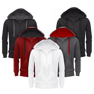 Men Sweatshirt Hoodie Fleece Zip Up Pocket Jacket Hooded Plain Design Casual