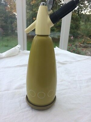 1970s Retro Sparklets BOC Lime Green Soda Syphon with Tray and Bulb Holder