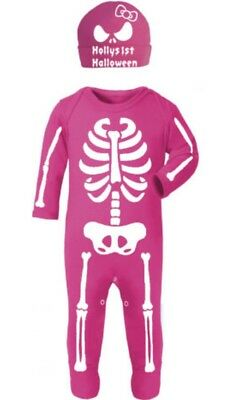 Personalised My 1st Halloween Pink Girls Skeleton Baby Costume with hat