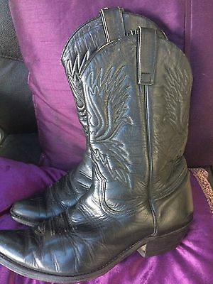 Vintage 70's  mens Black Real leather Shancho cowboy boots size 7 Ken market