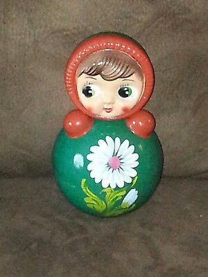 Vintage Early Russian Nevalyashka 23cm Green Orange Roly Poly Doll (b1