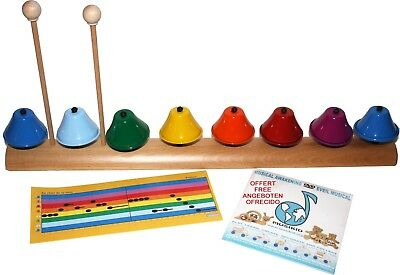 HAND BELLS for CHILDREN: Set 8 tuned hand bells + 2 beaters + 1 wooden stand +