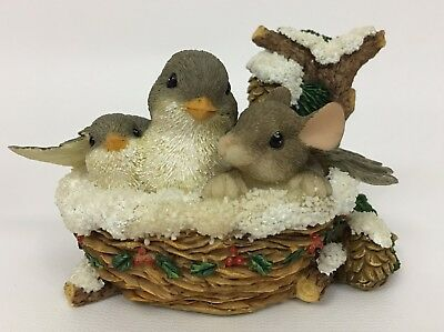 Fitz & Floyd Charming Tails Nestled In For The Holidays Mouse Bird Nest Figurine