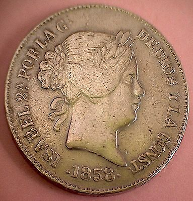 1858 , 20 Reales , Madrid , Isabel Ii . Silver, Beautiful Old Reproduction