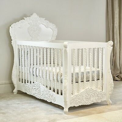 BESPOKE - Rococo Itailian / French white hand carved cot bed -hand made in Kent