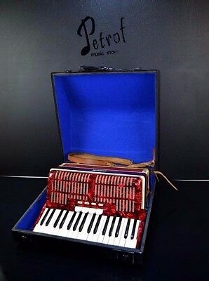 VINTAGE TOP PIANO ACCORDION WELTMEISTER 48 bass, 4 reg.+HARD CASE-=GERMAN MADE=-