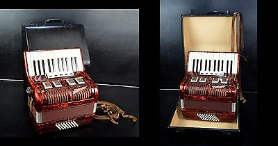 OLD/VINTAGE TOP GERMAN PIANO ACCORDION WELTMEISTER 40 BASS,5 REG. with HARD CASE