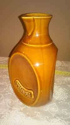 "Vintage ""Dimple"" Handled Pottery Carafe ~ Marked"