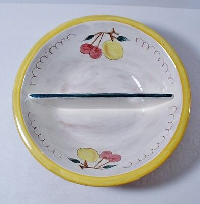 "Stangl FRUIT (Yellow Rim) 10"" Divided Round Vegetable Bowl EXCELLENT"