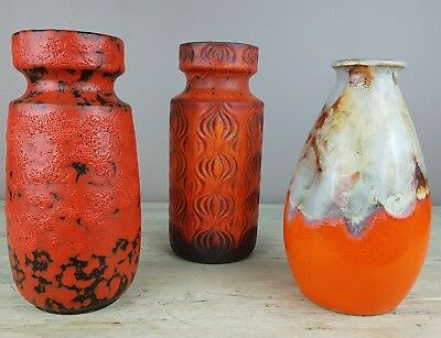 Stunning lot of 3 Fat Lava West Germany  Tall Vases in orange red vibrant glazes