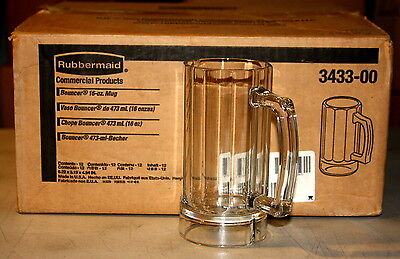 Case of 12 Rubbermaid 16 oz Bouncer Beer Mugs CLEAR PLASTIC 3433-00 NEW