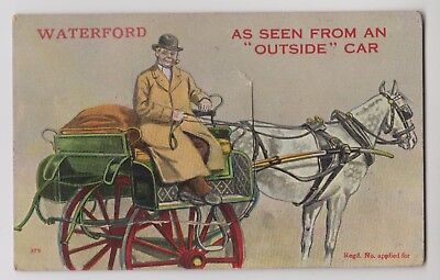 POSTCARD - novelty 12-view pullout, Waterford, Ireland, horse drawn carriage