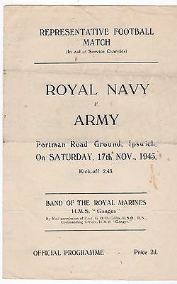 Royal Navy V Army 17/11/45 Representative Match At Portman Rd Ipswich