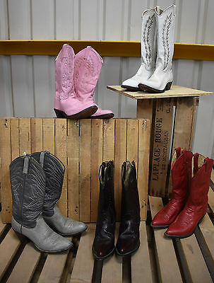 5 X Womens Authentic Vintage Leather Western Cowboy Boots (47)