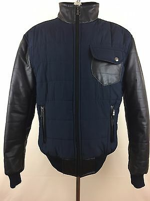 AC Mens (Leather Mixed) Jacket Full zipper Size L Made in Italy