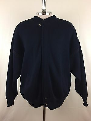St-Michael Sea breeze Dark Blue knit Wool Cardigan Sweater Mens Size XL Italy