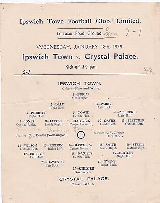 Ipswich Town  V Crystal Palace 3Rd Division South 18/1/1939 Rare Single Sheet