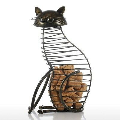 Tooarts Metal Cat Wine Cork Container Iron Cork Holder Ornament Home Decor