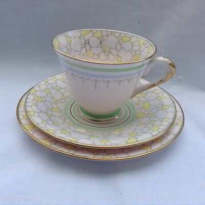 Plant Tuscan China Art Deco Tea for Two 2 Trio Lovely Rare 5291