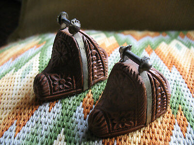 Antique Wood Carved Horse Stirrups Pair South America Chile Huasos Gaucho
