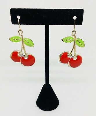 Vintage 1980's Enamel Cherry Earrings. Great Condition.