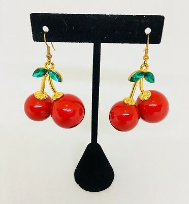 Vintage 1990's Cherry Earrings With Rhinestones. Gold Toned. 3Dimensional.