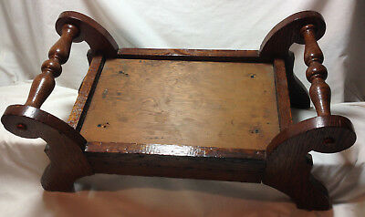 Primitive Wood Foot Stool Antique Americana Hand Made Early Folk Country Art