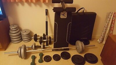 Assorted Gym Weights, Barbell, Bench & Mat (York / Domyos)