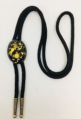 Vintage Bolo Tie With Gold Panning Tools In Lucite. Excellent.