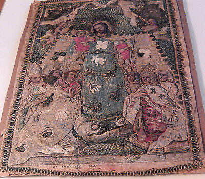 "18th-19th Century Embroidery-Aquaforte-Oil St. Joseph ""Patrocinium"""
