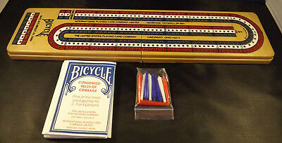 Bicycle Brand Folding Cribbage Board with Pegs and Instructions.
